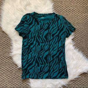 J Crew Vintage Cotton Teal Zebra Print Tshirt M